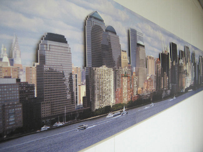 Panoramic image on foamex mounted on wall