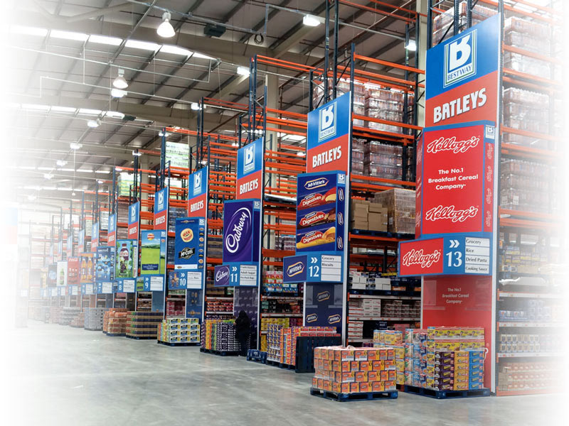 digital print branded aisle towers cash and carry