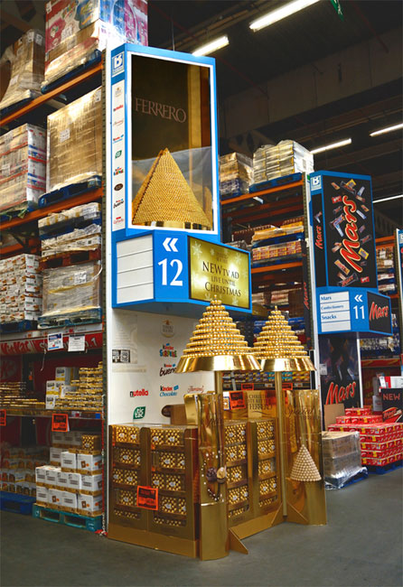 ferrero 3D tower with t.v adverts wholesale display aisle end