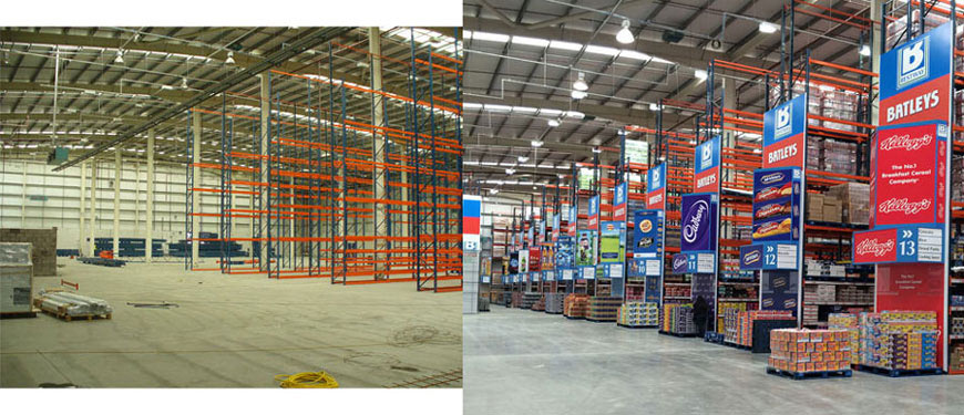 dexion racking ready for printed foamex aisle display towers and aisle bays